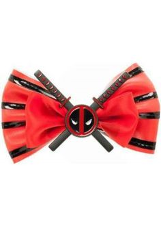 Girls can be sarcastic mercs too, ya know. Show off your street cred in this Marvel Comics Deadpool Bow. The red ribbon bow is accented with shiny black PU stripes and a metal Deadpool-and-crossed-. Marvel Girls, Comics Girls, Marvel Dc, Spiderman Marvel, Marvel Heroes, Deadpool Movie, Deadpool Theme, Deadpool Comics, Bags