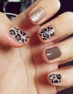 Image via Sweet flower nail art - pink & brown nails Image via Neutral nails with flowers and chevrons. Image via Polish Art Addiction: Basketball Nails they would be PERFECT Leopard Nail Art, Leopard Print Nails, Animal Nail Art, Leopard Prints, Brown Nail Art, Brown Nails, Black Nail, Glitter Nails, My Nails