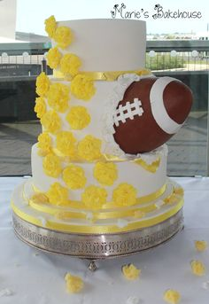 American Football Wedding Cake from Marie's Bakehouse www.mariesbakehouse.co.uk www.facebook.com/MariesBakehouse