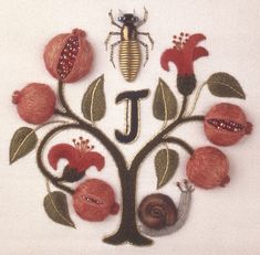 Jane's design 'Punica Granatum' is featured on the cover of the latest  Inspirations,   Originally published in Jane's book The Stumpwork, Goldwork and Surface Embroidery Beetle Collection -a pomegranate tree, outlined in gold thread, raised and beaded pomegranates and leaves, a padded snail worked in buttonhole stitch, and a gold beetle worked in leather, beads and gilt smooth purl.    The instructions can be found either in the book or in issue 73 of Inspirations magazine