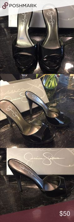 Jessica Simpson high heel sandals size 7 1/2 Black patent Jessica Simpson high heel sandals. Brand New never been worn. Heel measures 4 1/2 from the top of the heel to bottom. Comes in original box. Jessica Simpson Shoes Sandals