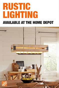 Balance rustic and modern styles with the Ackwood chandelier by Home Decorators Collection. Featuring an aged and patina wood design with simple industrial details, this chandelier creates a factory-chic flair while its seven amber bulbs add warmth to the room. Tap to shop rustic lighting at The Home Depot.