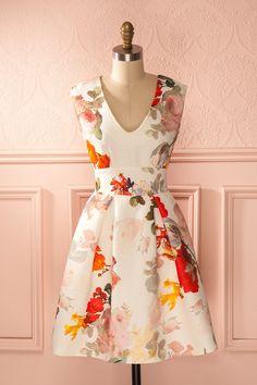 Mireigh - Cream orange floral A-line dress Boutique 1861