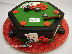 Poker Table Cake by Pink Cake Box in Denville, NJ.  More photos and videos at http://blog.pinkcakebox.com/poker-table-cake-2007-10-14.htm