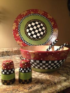 Hand Painted Wooden Salad Bowl with Matching Utensils