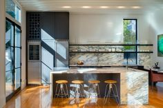 Open Kitchen With Floating Shelves and Marble Island Gray Subway Tile Backsplash, Modern Kitchen Backsplash, Kitchen Tops, Kitchen Flooring, Kitchen Decor, Backsplash Ideas, Kitchen White, Kitchen Ideas, Kitchen On A Budget