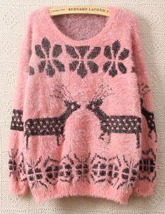 Pink Long Sleeve Deer Snowflake Pattern Fluffy Sweater EUR€15.74