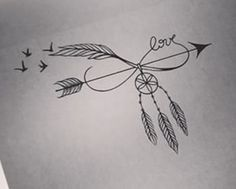 Dream catcher and feather tattoo