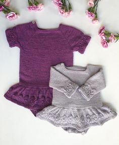 The Mollie Onesie Dress is worked top-down with raglan increases. The yoke is first worked back and forth to create an opening in the right shoulder and then later worked in the round. The body is worked in the round until divided for front and back (between the legs). The sleeves are worked in the round. Sts are picke
