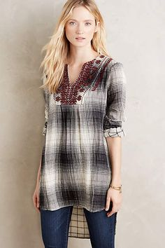 I'm drawn to how cozy this looks!  Embroidered Flannel Tunic - anthropologie.com