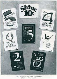 Numbers, from H.C. Martin's 1000 Practical Show Card Layouts and Color Sketches, 1928