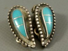 Vintage 1960's ZUNI Old Pawn STERLING SILVER Inlaid Turquoise RAINDROP Earrings #ZuniOldPawn