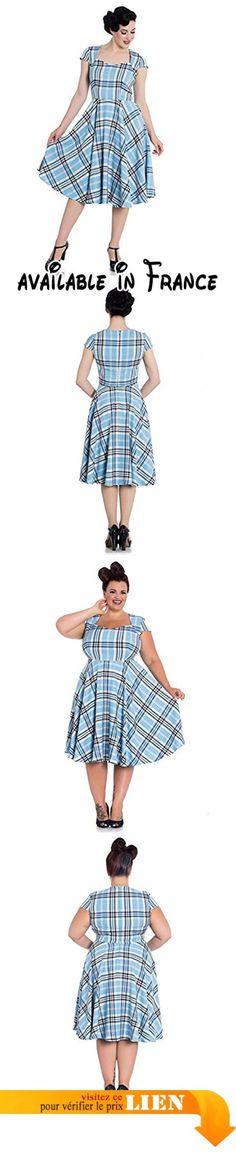 """Hell Bunny 50's Aberdeen Robe À Carreaux - Bleu, UK 18-20 (2XL). Belles années 50 style robe faite de tissu doux tartan. corsage ajusté avec décolleté en cœur. manches courtes courtes. Taille couture. jupe circulaire complète. Dossier haut. zip caché au milieu du dos. Unlined.. MESURES (longueur = taille à ourler): UK 8 (XS) = poitrine 33"""" taille 26""""Longueur 26""""; 10 (S) UK = C35» W28 «L26»; UK 12 (M) = C37» W30 «L26»; 14 (L) UK = C39» W32» L26. 5""""; 16 (XL)"""