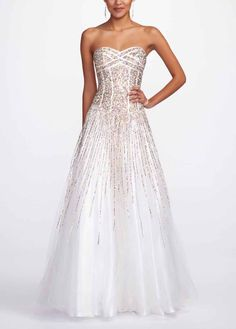 Beautiful white strapless prom dress with gold accent