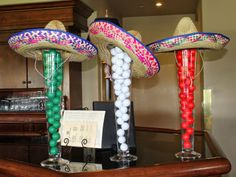 A few details from Orange Coast Memorial Foundation's 14th Annual Golf Classic. I took extra golf balls, spray painted them the colors or the Mexican flag and dressed up the vases with some festive sombreros!