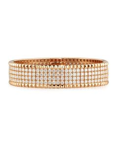Roberto Coin Rock and Diamond 18K Rose Gold Bangle