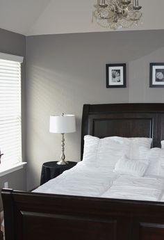 Grey Master bedroom. Behr Creek Bend. #Grey #White #Chandelier #Prints