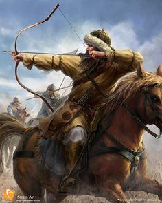 Mongol horse archer in battle Fantasy Warrior, Fantasy Rpg, Medieval Fantasy, Genghis Khan, Eurasian Steppe, Medieval Knight, Medieval Archer, Horse Art, Military History
