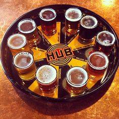 Portland Trip, March Ten beer sampler at Hopworks Urban Brewery in Portland, OR. Every single one was finely crafted and worth a full pint. The Seven Grain Stout may have been my favorite. Portland Bars, Portland City, Portland Oregon, Oregon Usa, Hamburger Dishes, Hamburger Recipes, Beer Sampler, Oven Canning, Canning 101