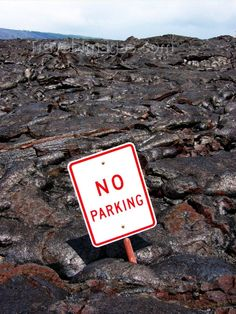 Hawaii island - Kilauea volcano: relic in thelava flow - no parking sign - Hawaii Volcanoes National Park - photo by R.Eime (c) Travel-Images.com