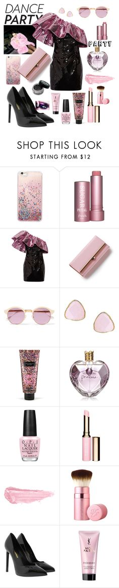 """""""Dance party! Black and pink theme"""" by vintagedaisy1 ❤ liked on Polyvore featuring Yves Saint Laurent, Sheriff&Cherry, Ottoman Hands, Victoria's Secret, Vera Wang, OPI, By Terry and Too Faced Cosmetics"""