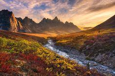 Tombstone Mountain during Autumn in the Ogilvie Mountain wilderness, Yukon Territory