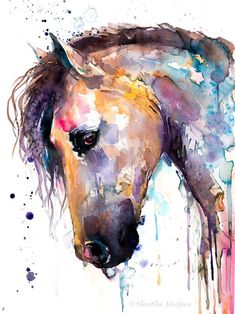 Beautiful watercolor horse painting print by . - Beautiful watercolor horse painting print by Slaveika Aladjova, animal art, illustration, wall art, - Abstract Horse Painting, Watercolor Horse, Watercolor Artwork, Painting Prints, Art Prints, Tattoo Watercolor, Horse Paintings On Canvas, Abstract Animal Art, Watercolor Artists