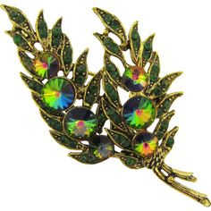 #VintageBeginsHere at www.rubylane.com @rubylanecom --Gorgeous 1960's Brooch with rivoli and green rhinestones