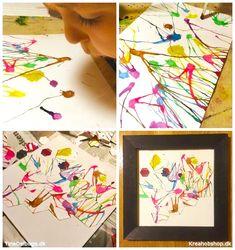 børn laver billeder og kunst med akvarel og udstanser fra kreahobshop