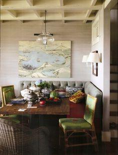 Rustic + antique banquette | Jeffrey Bilhuber.