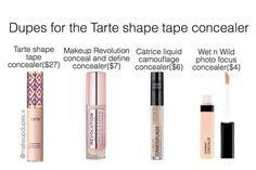 """603 Likes, 19 Comments - makeup dupes  (@makeupdupes.x) on Instagram: """"here's some dupes for the Tarte shape tape concealer! these concealers have a creamy, full…"""""""