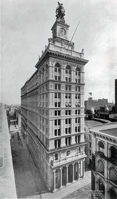 The New York Life Insurance Building, c.1897. Built by the NYC Gilded Age Architectural firm, McKim, Mead & Stanford White. Adorned with a clock tower, and bronze globe with eagle. Located at: 346 Broadway & Leonard St. NY. Wurt & Bros. photo. ~~ {cwl} ~~ (NYTimes)