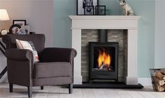 DRU - DRU Global Beau CF - Rustic, freestanding stove with conventional flue. Corner Gas Fireplace, Inglenook Fireplace, Fireplace Wall, Fireplace Ideas, Black Gas Stove, Contemporary Gas Fires, Natural Gas Stove, Corner Stove, Bedroom Color Schemes