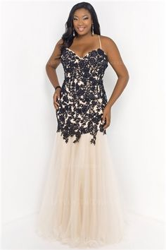 Trumpet/Mermaid Sweetheart Spaghetti Straps Floor-length Lace Plus Size Prom Dress