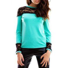 Stylish Jewel Neck Long Sleeves Lace Spliced Women's T-Shirt