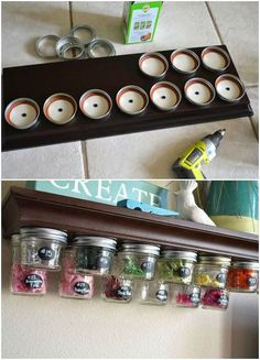 11 genius organizing hacks for the most type a person in your life, organizing, storage ideas, Project via Kelsey Poofy Cheeks Craft Storage, Jar Storage, Storage Ideas, Spice Storage, Storage Hacks, Home Projects, Projects To Try, How To Clean Copper, Ideas Para Organizar