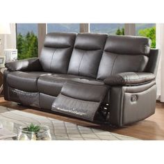 Ac Pacific Ryker Collection Contemporary Upholstered Reclining Leather Sofa With Dual Recliners Dark Brown