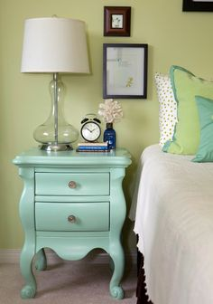 Sage   Aqua = pretty combo. I think it would look even better with a quilt instead of this white bedspread.