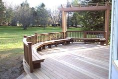 Ipe deck w/ benches & cedar pergola in Greenwich, CT