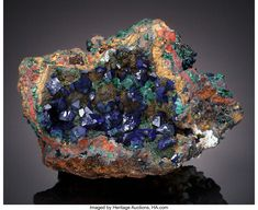 Azurite, Malachite and possibly Native Copper.  Czar Mine (Czar Shaft), Bisbee, Warren District, Mule Mountains, Cochise Co., Arizona, USA