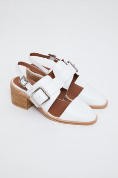Jeffrey Campbell - Dilora Slingback Monkstrap Shoe via @Victoria Wilferd | A little height and a lot of white.