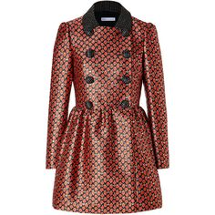 RED VALENTINO Floral Double-Breasted Coat (€445) ❤ liked on Polyvore featuring outerwear, coats, jackets, coats & jackets, valentino, sash belt, floral coat, floral sash belt, red double breasted coat and print coat