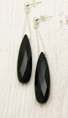 Black Onyx Earrings in Solid Sterling Silver / faceted