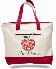 Teacher bag, teacher tote, apple bag, personalized teacher bag, teacher name tote bag, school bag, teacher gift, canvas zippered bag by ElainesCrafts on Etsy