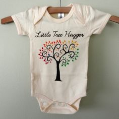If I have a kid, they might just need this! Baby organic hand painted onesie or tshirt for the budding tree hugger