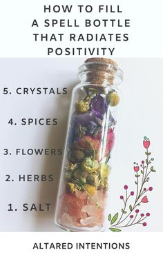 A simple, easy guide to filling spell bottles that radiate positivity through your home and energy field howto spell meditation crystals positivevibes 665266176189044602 Jar Spells, Magick Spells, Magick Book, Healing Spells, Wicca Witchcraft, Hoodoo Spells, Moon Spells, Green Witchcraft, Witch Bottles