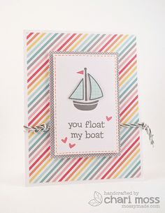 Made with Lawn Fawn's Hello Sunshine paper collection and Float my Boat stamp set.  Lawn Trimmings Twine in Cloudy to embellish.  @Lawn Fawn