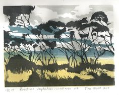 """""""Roadside Vegetation: Wallaroo #2"""" Woodblock print; this print is inspired by the tree seen along the roadside as you are travelling by. It is a multi layered coloured print created by layering ink extender tinted with oil paints. It has up to seven layers of colour. Two woodblocks carved on both sides are used. Clouds are wonderful to represent in woodblocks. Edition of 8"""