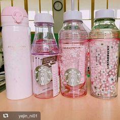 Sakura Starbucks, Japan Copo Starbucks, Starbucks Tumbler Cup, Starbucks Cup Art, Starbucks Bottles, Starbucks Drinks, Starbucks Coffee, Cute Water Bottles, Glass Water Bottle, Bento Kawaii