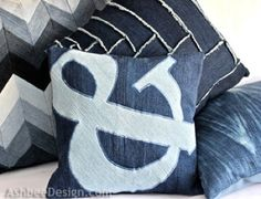 http://naturalmoderninteriors.blogspot.com.au/2013/08/recycled-fabric-cushion-ideas.html | Recycled Fabric Cushion Ideas made from recycled denim jeans.